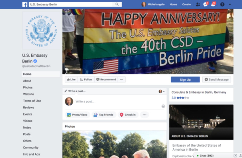 Screenshot of the US Embassy in Berlin's Facebook page. A contingent led by U.S. Ambassador to Germany Richard Grenell marched in the Berlin's recent  pride parade.