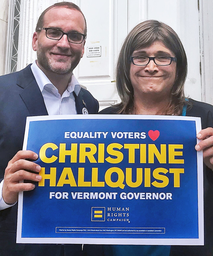 Chad Griffin, president of the Human Rights Campaign,  left, announced HRC's endorsement of Christine Hallquist (D) in her bid to become the next governor of Vermont. If elected this November, Hallquist will make history as the nation's first out transgender governor.