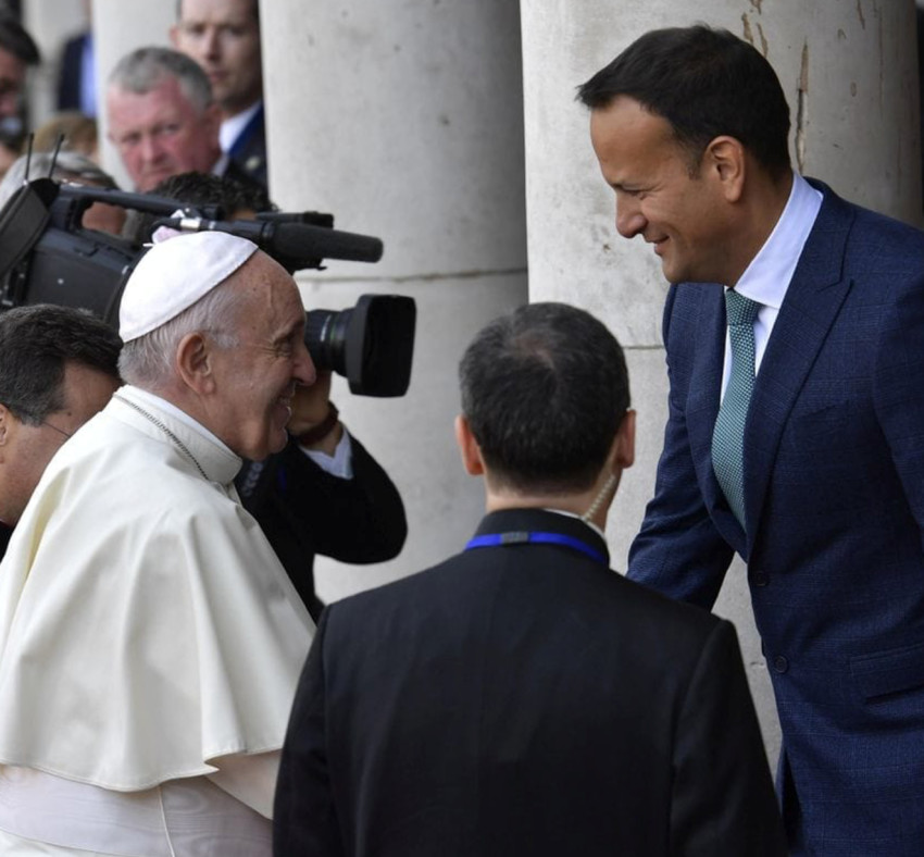 Pope Francis is welcomed by Leo Varadkar, Ireland's prime minister, at Dublin Castle during his recent visit to Ireland.