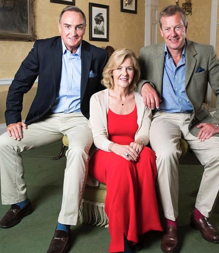 Lord Ivar Mountbatten (pictured right) with his new husband, James Coyle (pictured left), and former wife Lady Penny Mountbatten (centre).