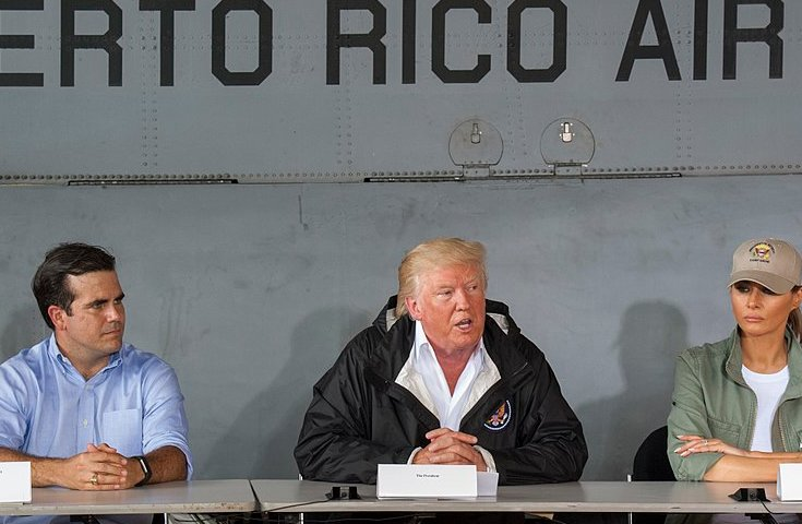 In today's political climate, even hurricanes are leveraged to advance agendas. Puerto Rico Gov. Ricardo Roselló, U.S. President Donald Trump and First Lady Melania Trump discuss relief efforts after Hurricane Maria last year. Trump later called storm response in Puerto Rico, where nearly 3,000 died, 'One of the best'.