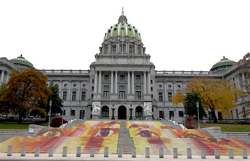 A mural by Michelle Angela Ortiz on the steps of the Pennsylvania State Capital, Harrisburg.