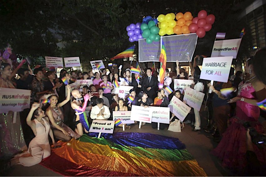 PARTY for rights - An LGBTQI group marks the 10th anniversary of LGBT Day at Chamchuri Square in the capital to promote gender rights and equality in Thailand.