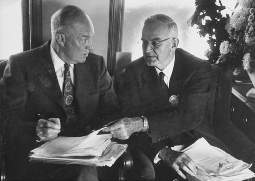 President Dwight D. Eisenhower, left, and Robert Cutler, his special assistant for national security affairs.