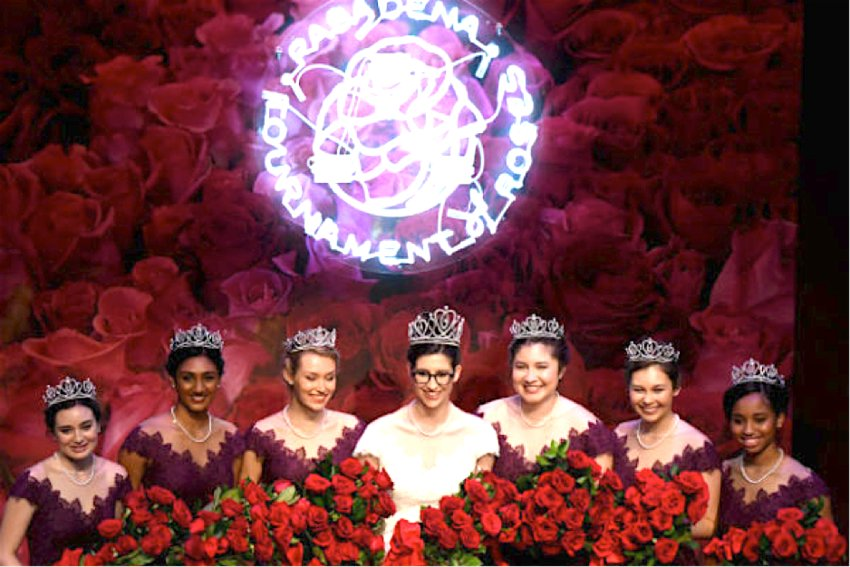 Rose Queen 2019. Center: Louise Deser Siskel with Royal Court Members Princess Helen Rossi, Princess Rucha Kadam, Princess Lauren Baydaline, Princess Micaela McElrath, Princess Sherry Ma and Princess Ashley Hacket.