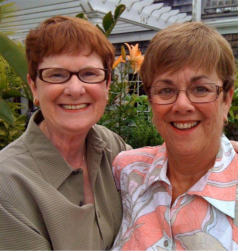 """From left, Mary Walsh and Bev Nance at their 2009 wedding in Provincetown, Mass. They were denied an apartment in Missouri's Friendship Village because their marriage is not """"understood in the Bible."""""""