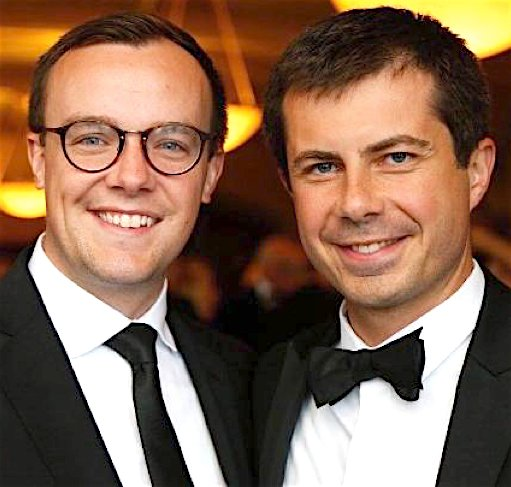 Indiana Mayor Peter Buttigieg, right, and his husband Chasten Gleeman.