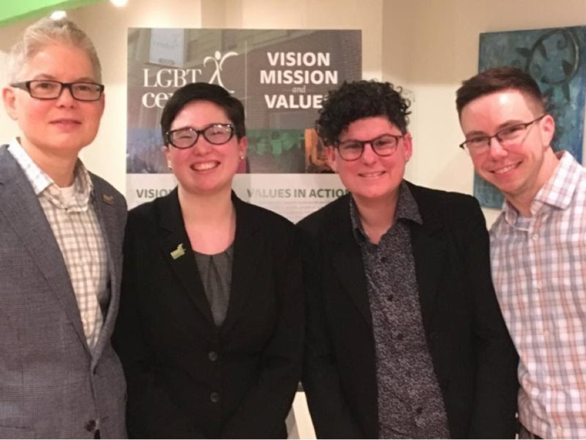 From left: LGBT Center of Central PA Board Chair Miller Hoffman, Executive Director Amanda Arbour, Immediate Past-President Heidi Notario, and Vice President Evan Smith introduced the center's new Vision, Mission, and Values and 2019-2021 Strategic Plan. About 20 people attended the release. The community-at-large is invited to get involved as the center begins working on Community Building, Racial Justice, Mental Health, and Housing.