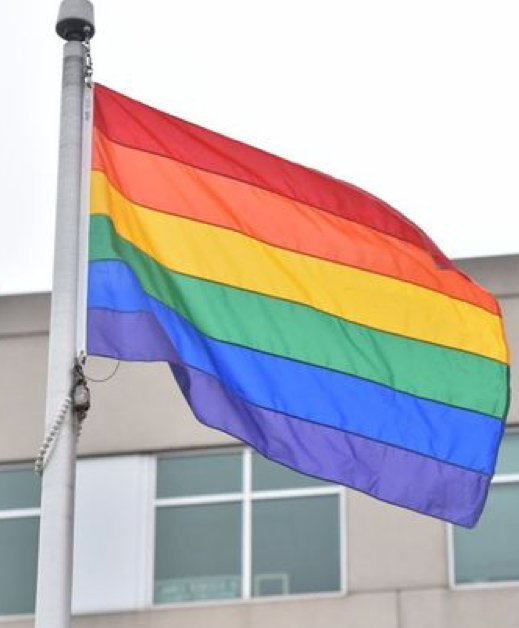 The rainbow flag was at Bergen County Plaza in Hackensack, New Jersey.