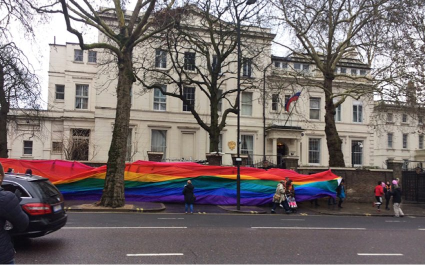 People rallied outside the Russian embassy in London recently to raise awareness of and call for an end to the persecution of the LGBTQ community in the Chechen Republic.