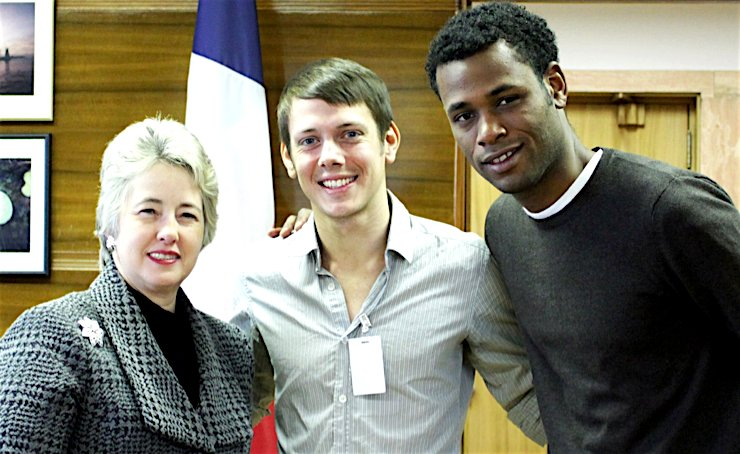 I'm from Driftwood founder Nathan Manske (center), and a Driftwood cameraman stand with Annise Parker, Houston's second female mayor (2010-2016), and one of the first openly gay mayors of a major U.S. city.