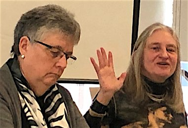 Speakers Mary Hunt, Women's Alliance for Theology, Ethics and Ritual (left); and, Mary Anne Case, Professor of Law, urge UN Secretary-General to revoke the Non-member State Permanent Observer Status of the Holy See, an administrative arm of the Roman Catholic Church.