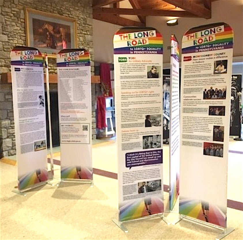 Since February 2019, the LGBT history exhibit, The Long Road to LGBTQ+ Equality in Pennsylvania, has been booked 42 times, according to exhibit organizers. Venues have included LGBT centers, Pride festivals, colleges and universities, K-12 schools, long-term care facilities, libraries, and government buildings.