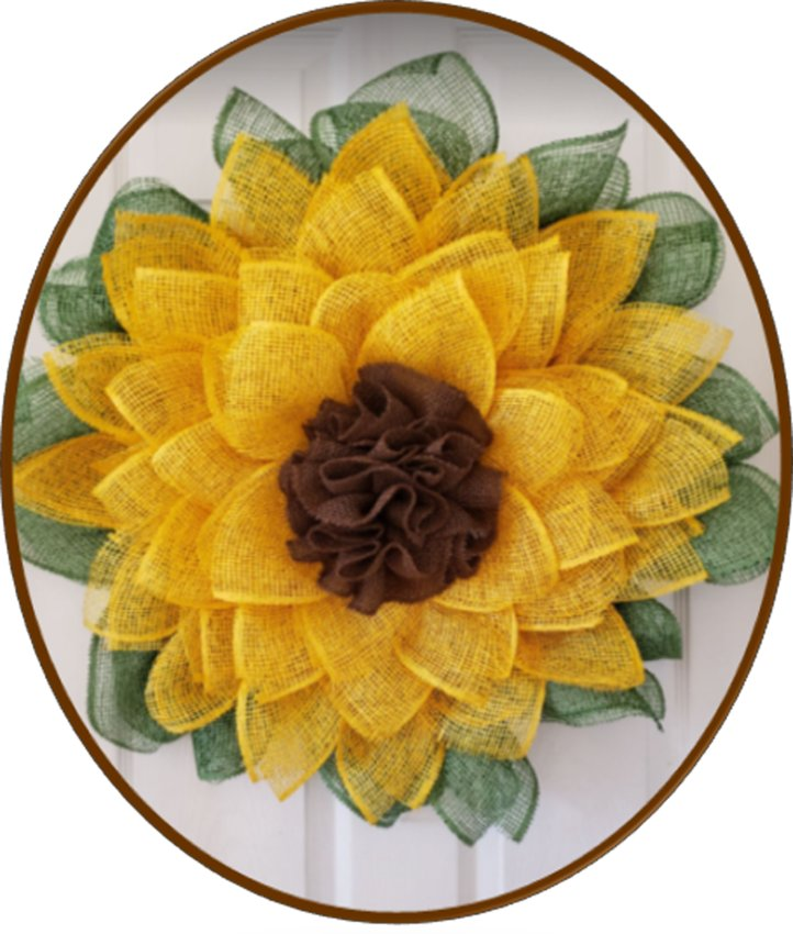 LEARN TO MAKE this burlap sunflower wreath in one of two workshops led by artist Tara Hensley on April 20 and 27.