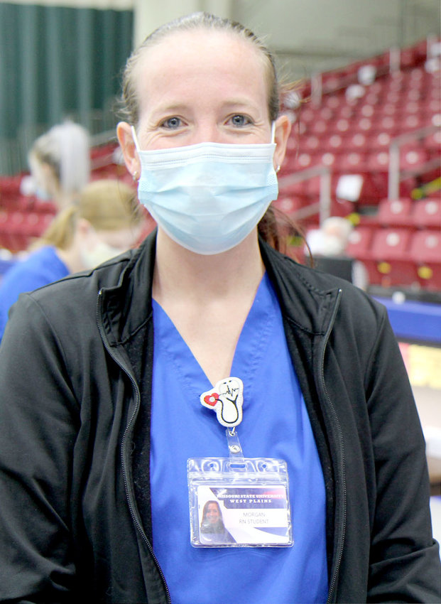 MISSOURI STATE UNIVERSITY-West Plains second year nursing student Morgan Spoor, West Plains, said she has learned a variety of important skills while volunteering at COVID-19 vaccination clinics in the area.