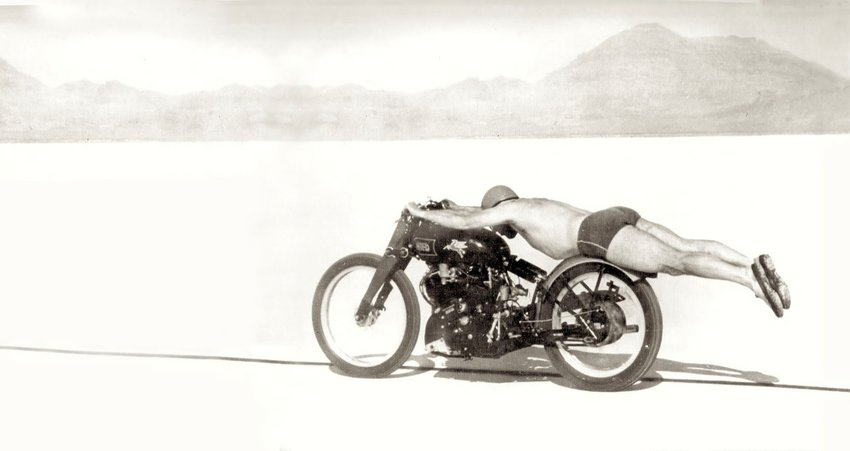 OLLIE FREE riding a Vincent HRD in minimal clothing during his American motorcycle land speed record-breaking run in 1948.