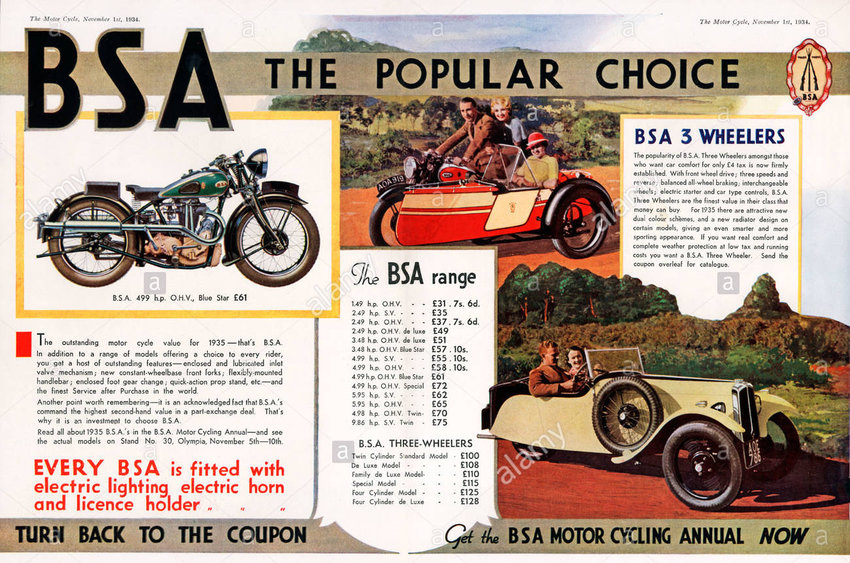 1935 BSA MOTORBIKES magazine advert of the range of British motorcycles and 3-wheelers in the Popular Choice.