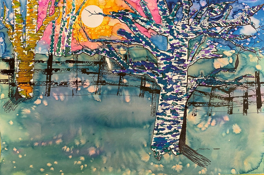THIS WATERCOLOR AND PEN piece created by Keyonna Patterson won best of show honors at the 20th annual Art Around Town exhibit held March 31 through Tuesday at the West Plains Civic Center exhibit hall. Patterson is a fifth grader at Fairview School.