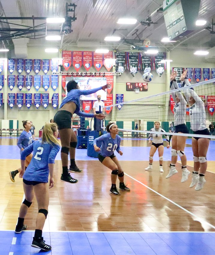 GRIZZLY MANUELA BIBINBE (#4) proved that her massive attack couldn't be blocked Thursday during the opening round of the NJCAA Division I Women's Volleyball Tournament against Wallace State.
