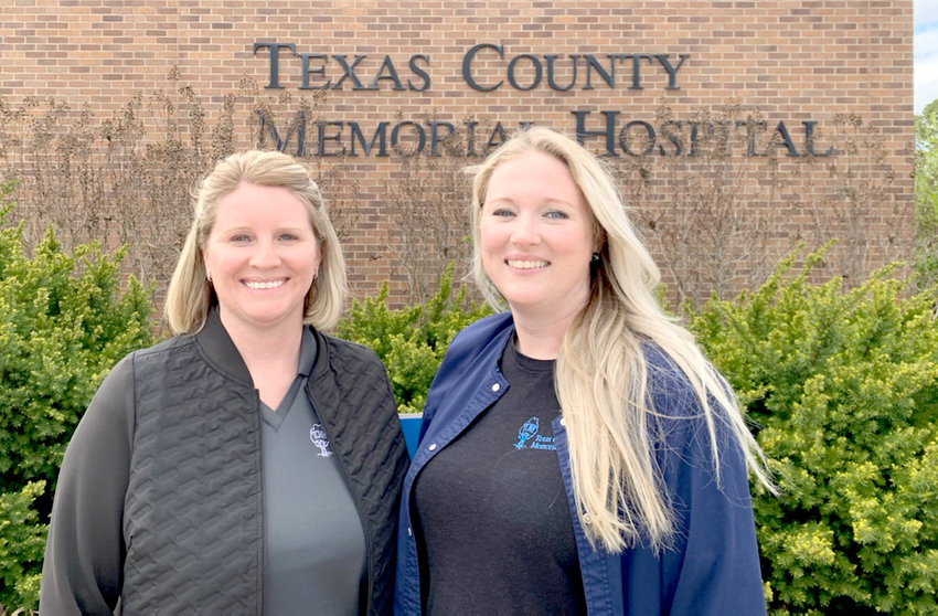 NEW DIRECTORS — Courtney Owens, left, Texas County Memorial Hospital's new quality improvement and risk management director, stands with Melanie Evans, TCMH's new Home Health of the Ozarks and Hospice of Care director.