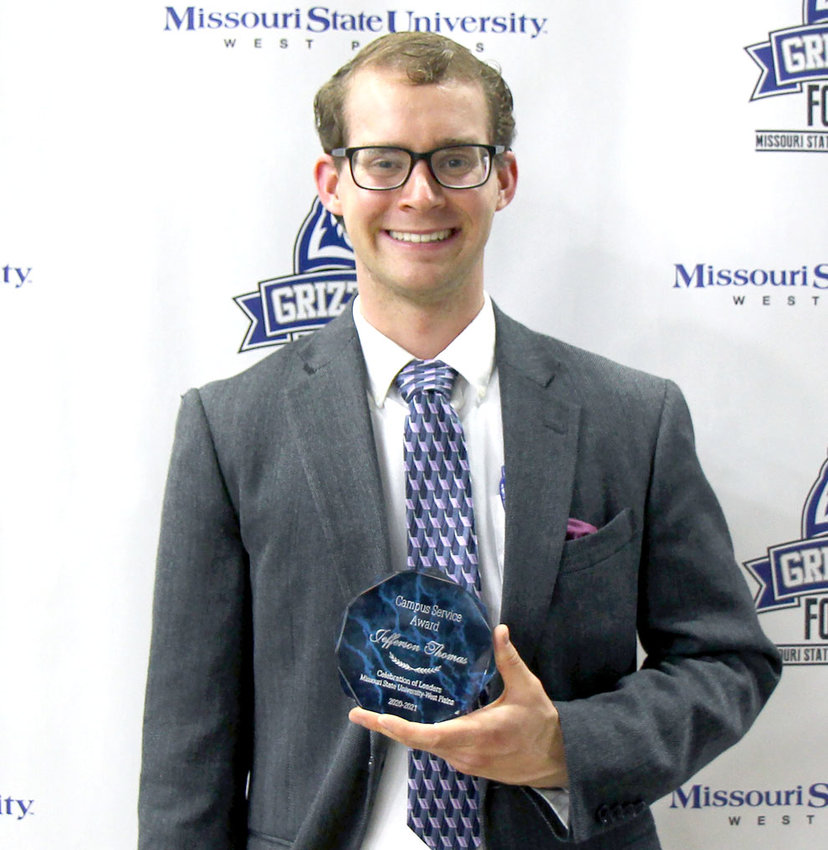 Jefferson Thomas, Houston, received the Campus Service Award during Missouri State University-West Plains' annual Celebration of Leaders student awards ceremony April 29 at the West Plains Civic Center. The award recognizes students who make the greatest contribution to campus efforts by volunteering their time to serve significant campus interests that improve the quality of life and uphold values consistent with the betterment of campus life.