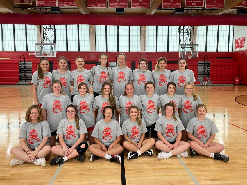 THE WPHS LADY ZIZZERS basketball camp was held last week, with 80 athletes participating from three age categories. 2nd-5th grades, 6th-8th grades, and 9th-12th grades. Pictured here is the high school group that will look to repeat last season's performance when the Lady Zizzers finished second in the state championship.