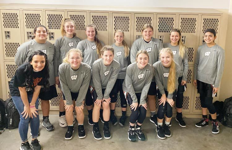 The Wayne Lady Bulldogs had wins over Verden and Maysville in the Geronimo Tournament to in the Consolation bracket. Pictured are, back, from left, Mayce Trejo, Teagan Raney, Coralee Castle, AJ Gray, Shyleigh Mantooth, Haiden Parker and Lorensa Martinez. Front row, from left, are Alyssa Johnson, Abigail Lee, Kaylee Madden, McKenzie Fisher and Allie Walck.
