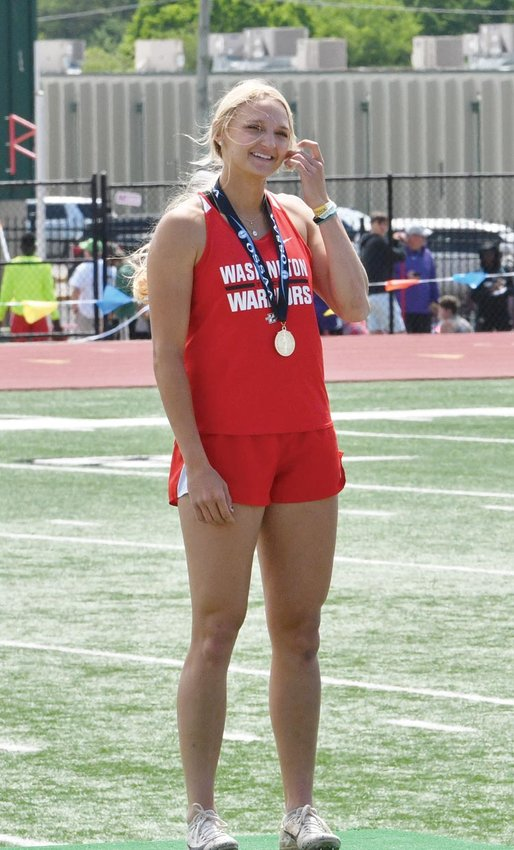 """Washington junior Mattie Richardson won the long jump competition with a leap of 17' 2 1/2"""" at the State meet in Catoosa."""