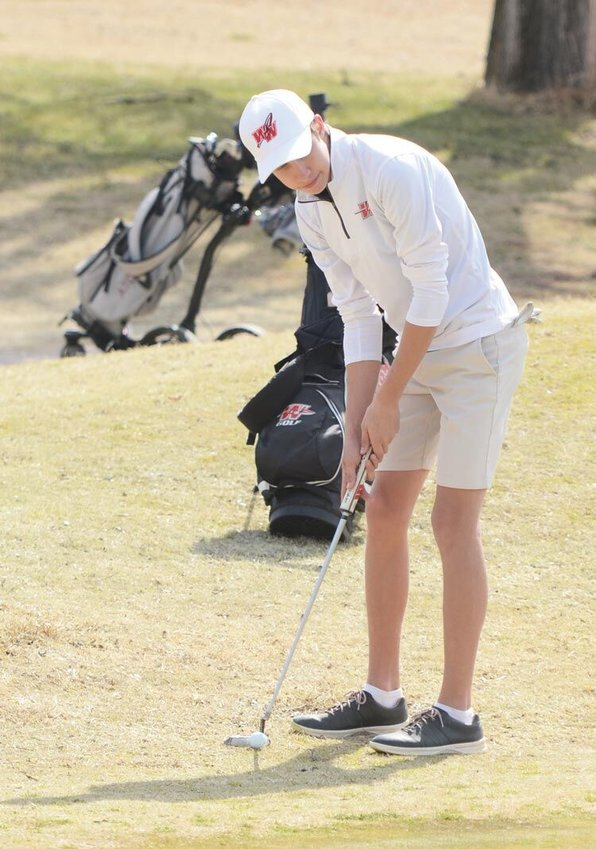 Washington senior Brody Moore and the Warriors qualified for the Regional tournament in Claremore after shooting a team score of 338 at Sulphur. Moore shot 76, the low Warrior round. Moore lined up this putt earlier in the year at Purcell.