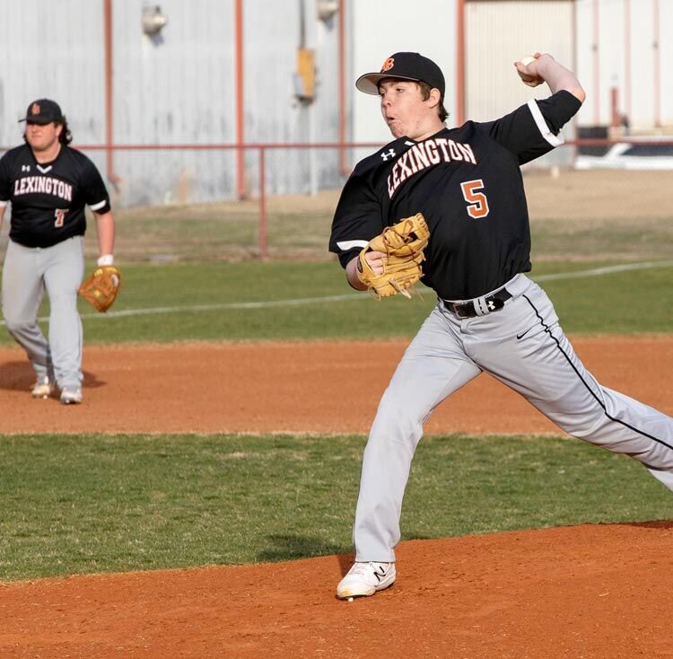 Lexington junior Gus Turnpaugh delivers a pitch to home plate. Turnpaugh and the Bulldogs travel to the AmPo Tournament today (Thursday) through Saturday.