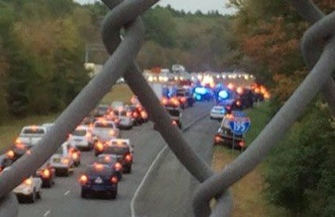 Cars are backed up in both directions in the wake of Tuesday morning's crash on Route 195 in Westport. WJAR TV-10 photo