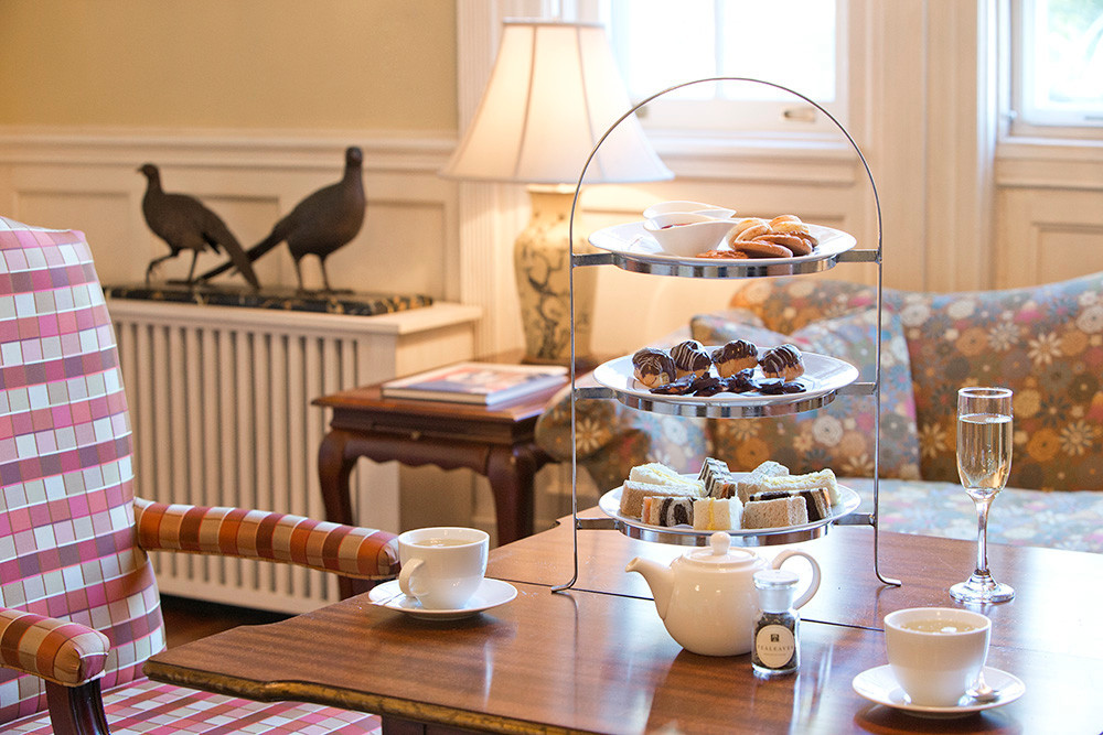 Tea service, complete with crumpets and scones at The Vanderbilt Grace in Newport.