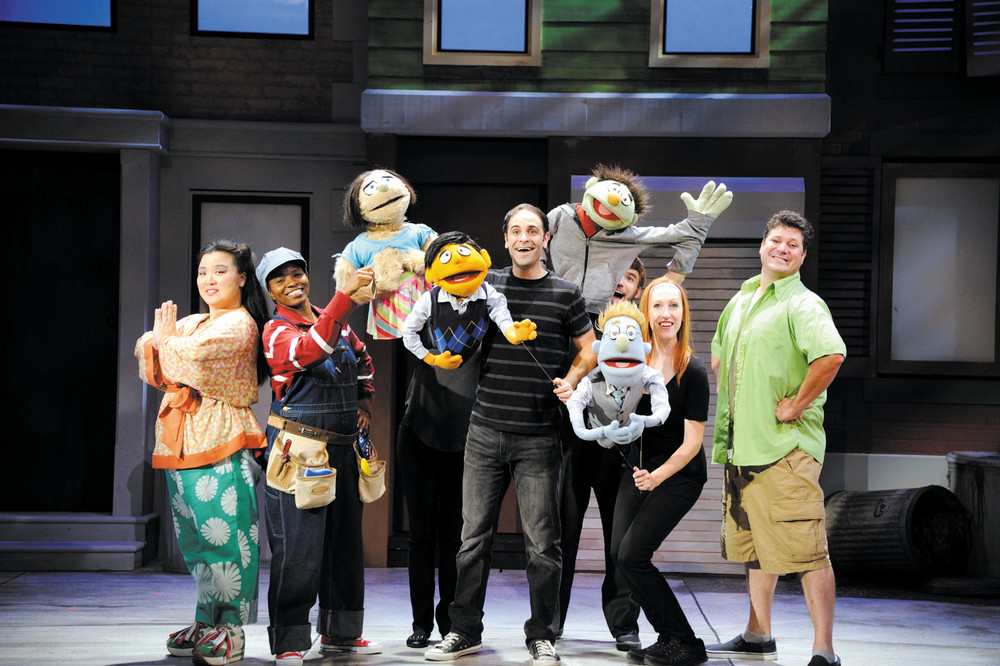 """From left, Jenna Lea Scott, Lovely Hoffman, Kate Monster, Princeton, Tommy Labanaris, Nicky, Jeff Blanchette, Rod, Elise Arsenault and Greg LoBuono in the hysterical and touching Tony Award-winning musical comedy, """"Avenue Q,"""" which is on stage at Ocean State Theatre in Warwick through August 21. For tickets call 921-6800 or visit www.OceanStateTheatre.org."""