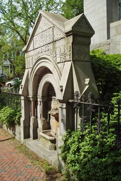 The fountain at the Providence Athenaeum
