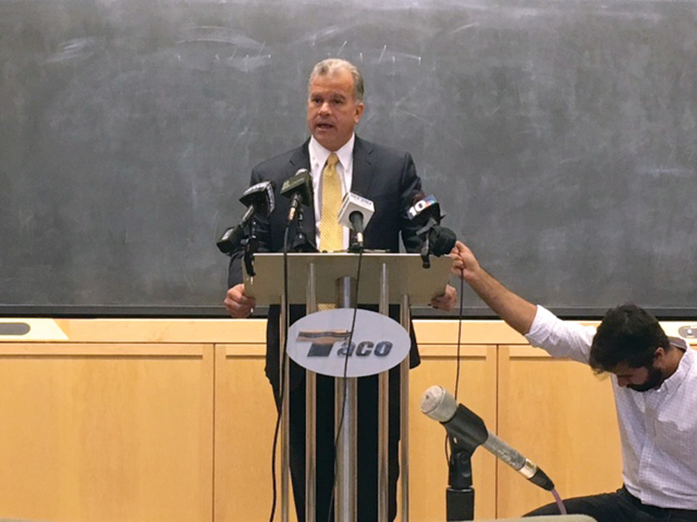 LOOKING AHEAD: Speaker Nicholas Mattiello addresses members of the media during a news conference Tuesday at Taco's Cranston Street headquarters.