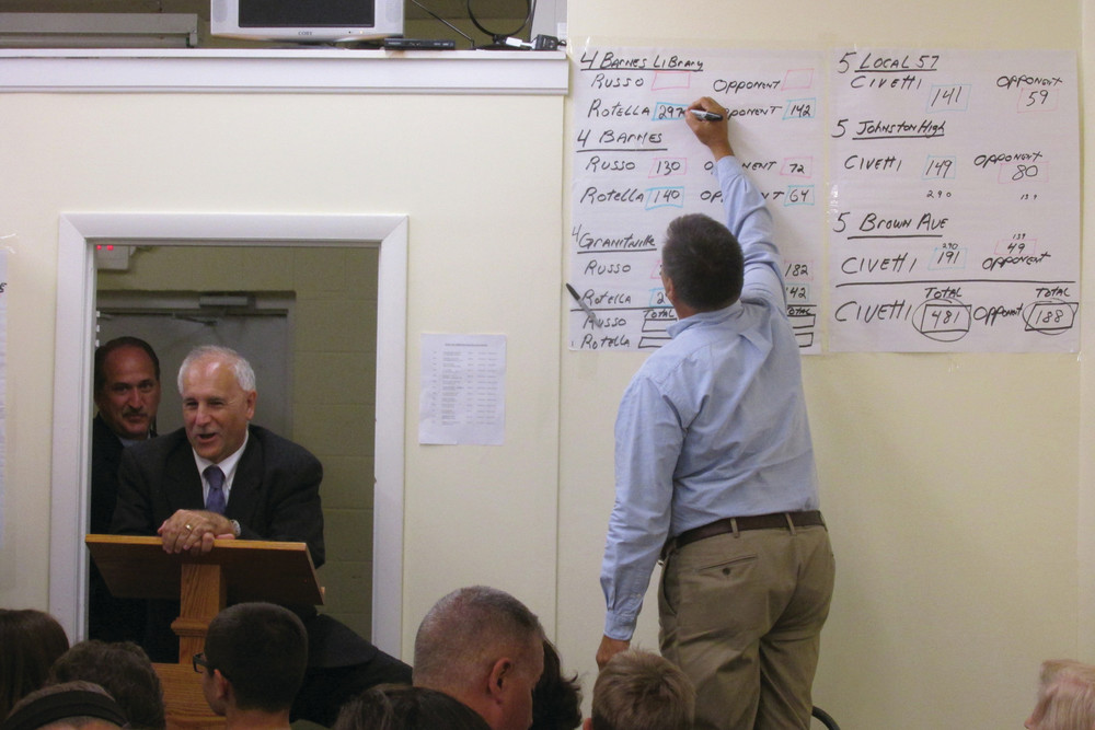 SLATE SWEEPS: As Mayor Joseph Polisena speaks and Town Council candidate Robert Civetti looks on, Town Committee Chairman Richard DelFino Jr. puts numbers on the board at party headquarters on Tuesday night.