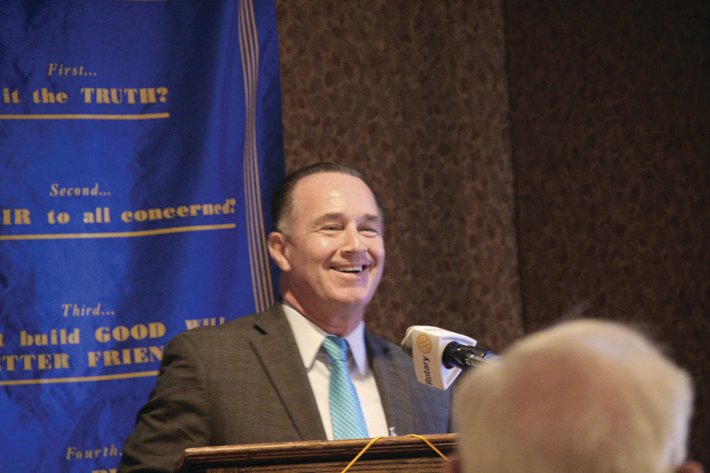 Steve O'Donnell at last Thursday's Warwick Rotary Club meeting.