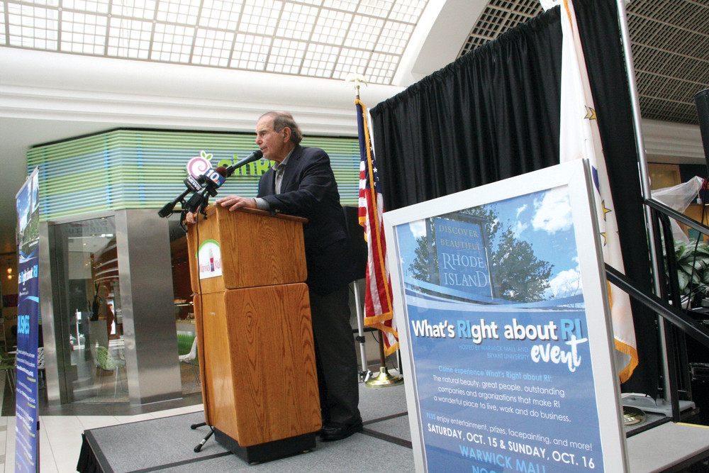 PREACHING WHAT'S GOOD: Aram Garabedian, co-managing partner of Warwick Mall, announced Wednesday a campaign to get Rhode Islanders to recognize what's right about the state.