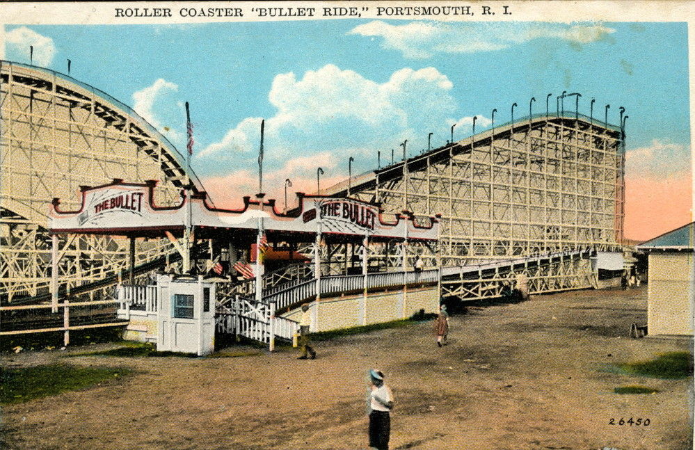 """This vintage, colorized postcard of """"The Bullet,"""" the Island Park amusement park's famed rollercoaster, is from Town Historian Jim Garman's collection."""