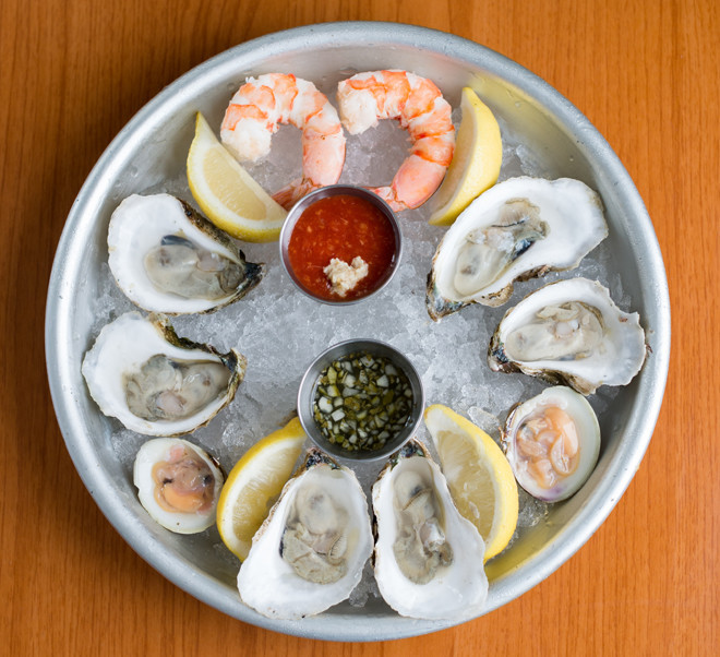 Oysters, little necks and shrimp from the raw bar