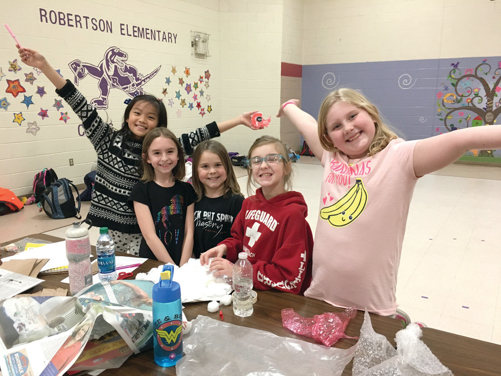 """SO MUCH FUN"": Third graders Sabrina Chen, Mackenzie Chianca, Alexis Humphrey, Pasqualina Porreca and Hannah Chasse show their excitement for the Design It! program at Robertson."