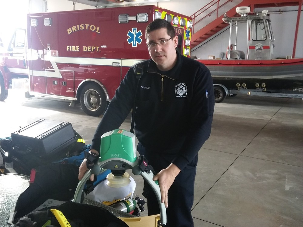Bristol Fire Chief Michael DeMello displays the CPR compression machines stocked in each of the town's rescue trucks. The machines provide consistent chest compressions, eliminating the worry of slowing down due to fatigue.