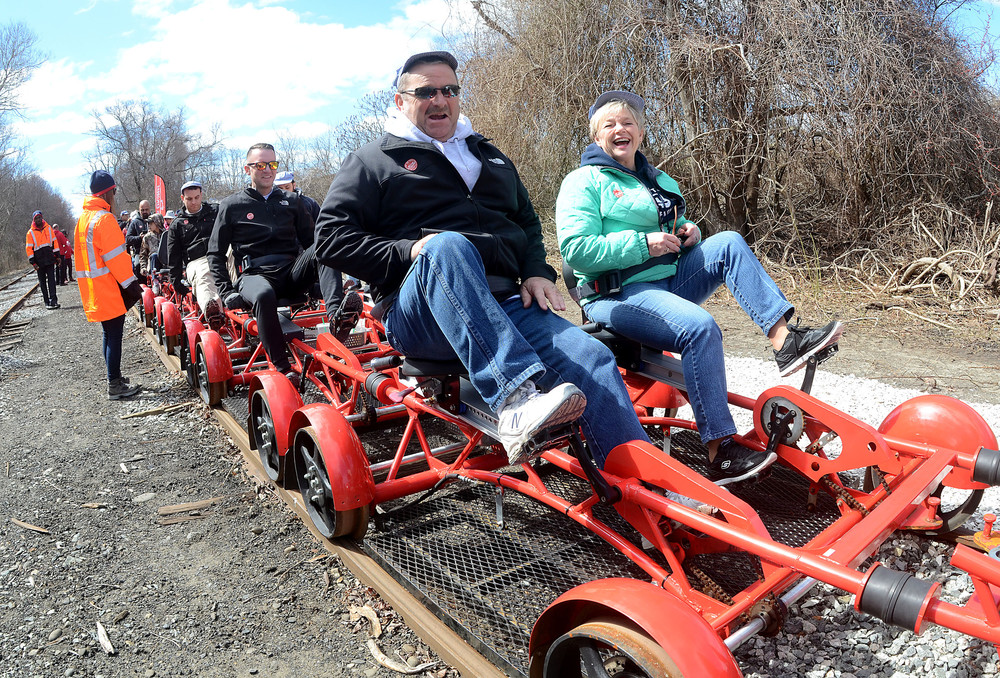 Scott and Linda Goff traveled from Connecticut for the first ever ride on Rail Explorers on Saturday.