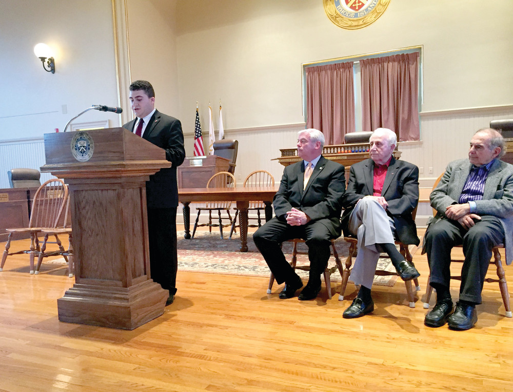 AT ARMENIAN OBSERVANCE: Sevan Donoian of the Armenian National Committee of RI is joined by Mayor Avedisian, Honoree Peter Bedrosian and Aram Garabedian at ceremonies at Warwick City Hall on April 28.