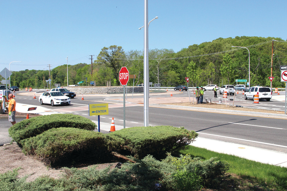 MOST ACCIDENTS: Of the four operational roundabouts in Apponaug, this one at the intersection of Greenwich Avenue and Veterans Memorial Drive recorded 30 accidents during the period of Jan. 1 to May 5. During the same period last year, five accidents were recorded at the intersection.