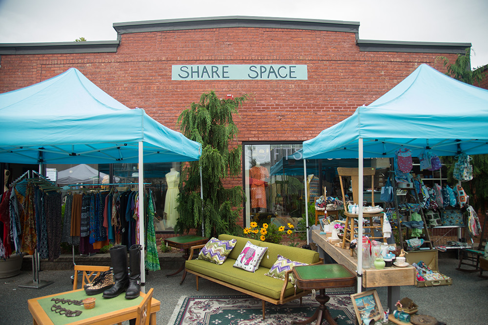 A former office building now serves at HQ for several local vintage and craft vendors.