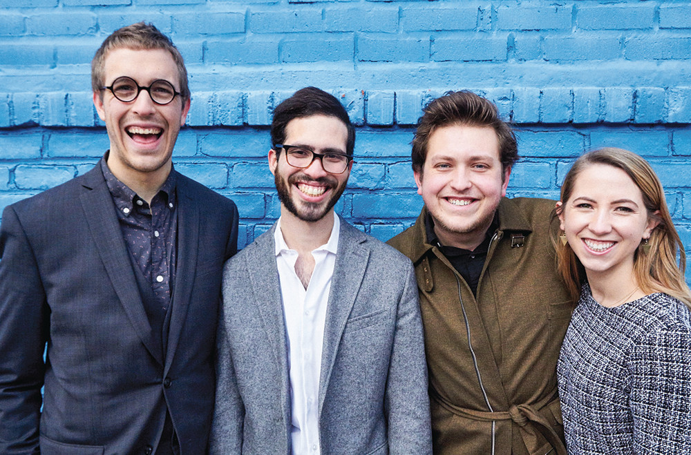 Sam Adrain Hood (left) with Jorge Morales Pico, James Clements and Ana Christina Schuler bring their experimental theatre company to Providence