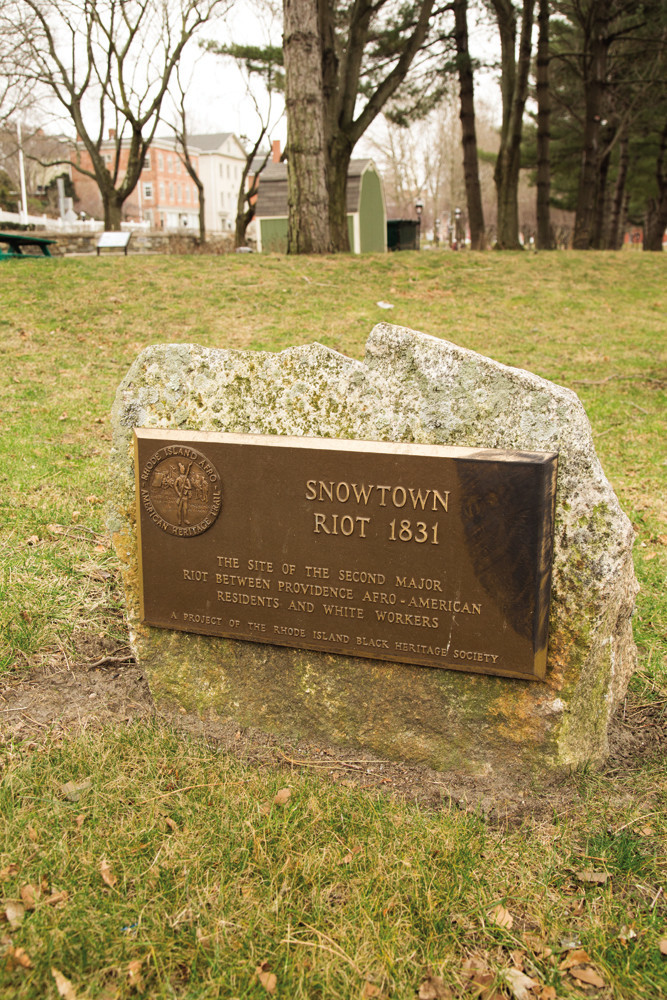 This mark at Roger Williams National Memorial park commemorates the Snowtown Riot of 1831