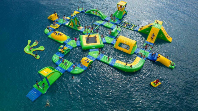 This Wibit inflatable water park is similar to one that local resident Dave Gallagher hopes to locate in the waters off Park Avenue in Island Park.