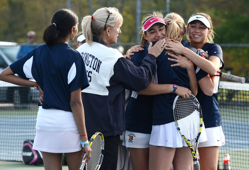 From left, Rayna Mishra, coach Christine Barton, Abigail Walter, Hope Vetromile and Jillian Walter react after losing the D-I championship match to LaSalle at Slater Park on Saturday.